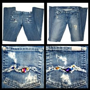 7 SEVEN FOR ALL MANKIND Jeans Sz 25 Rhinestones